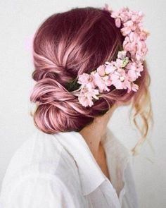 Half flower crown updo