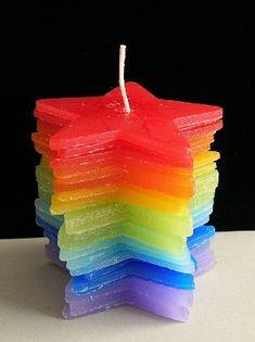rainbow star candle