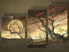 Ručne maľovaný obraz STROMY 3 dielny 3579FA