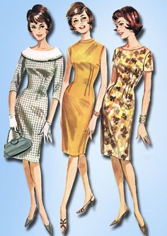 1960s Vintage Butterick Sewing Pattern 2137 Misses Wiggle Sheath Dress Size 34 Bust