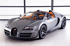 Bugatti Veyron Vitesse: Strap your hat on before heading out in the the Bugatti Veyron 16.4 Grand Sport Vitesse; the targa-topped model boasts a quad-turbo 1200 hp W-16 Super Sport engine and 255 mph top speed.