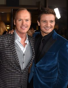 """Jeremy Renner Photos Photos - Actor Michael Keaton (L) and producer Jeremy Renner arrive at the premiere of the Weinstein Company's """"The Founder"""" at the Cinerama Dome on January 11, 2017 in Los Angeles, California. Premiere Of The Weinstein Company's """"The Founder"""" - Red Carpet"""