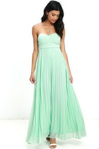 Dull doesn't exist in your vocab, and the Always Charming Strapless Mint Green Maxi Dress proves that! This mint green dress is composed of a woven poly chiffon, covered in gorgeous pleats. A mesmerizing bodice includes lightly padded cups and a no-slip strip. Maxi-length skirt is introduced below a set-in waistline, making this gown gala ready. Adjustable spaghetti straps included. Hidden side zipper/clasp. #CuteDresses #TrendyTops, #FashionShoes #JuniorsClothing