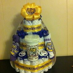 Lsu Football Theme Baby Shower Cake Baby Shower Ideas