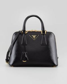 Prada Saffiano Vernice Promenade Crossbody Bag, Black on shopstyle.com