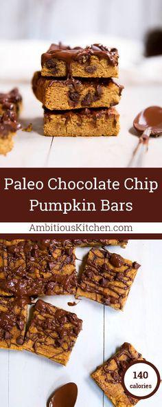 Incredible paleo chocolate chip coconut flour pumpkin bars that taste like pumpkin pie. Healthy enjoy to enjoy as a snack but indulgent like a dessert.