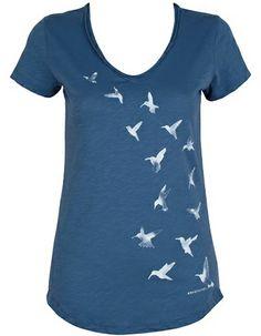 T-shirt Fay Flying Birds Dove Blue van Armedangels