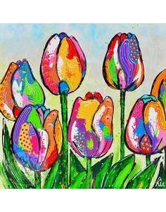 Vrolijk Schilderij Poster Tulpen 50x50