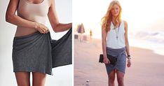 DIY nápad s návodom urob si sama ako vytvoriť sukňu zo šálu. Kreatívny módny tip / trik ako poskladať šál na sukňu bez šitia.