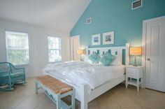 Coral Lagoon, Villa 19 - 3 Bedroom and Bath Home with Complimentary Dockage - Coral Lagoon Blue Themed Bedroom, Teal Bedroom, Bedroom Themes, Home, Bedroom Design, Furniture, Coastal Bedrooms, Sanctuary Bedroom, Remodel Bedroom