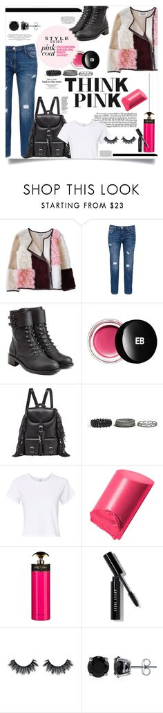 """Patchwork Shearling Biker Jacket"" by elimarga ❤ liked on Polyvore featuring Florence Bridge, Current/Elliott, Philosophy di Lorenzo Serafini, Edward Bess, Yves Saint Laurent, Torrid, RE/DONE, Bobbi Brown Cosmetics, Prada and BERRICLE"