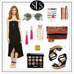 Lulu Loves: summer date night. splendid dress, ray ban, black strapless dress, star mela clutch