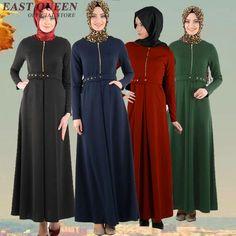 b6a0b2611b8 Muslim Abaya Islamic Clothes For Women Muslim Dress Long Sleeve Maxi Dress  Women Zipper Bodycone Muslim Maxi Dress With Belt