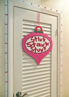 Completed Stink Stank Stunk and Holiday Card Display, part of my Grinch / Whoville Christmas decor Grinch Party, Grinch Christmas Party, Christmas Party Themes, Christmas Holidays, Christmas Crafts, Christmas Ornaments, Christmas Ideas, Christmas Room, Diy Ornaments