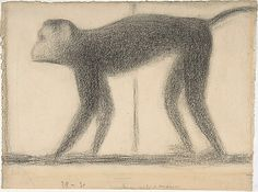 Seurat Monkey, conte crayon. Met Museum. Gift of Adelaide Milton DeGroot, 1967. Accession number 35.