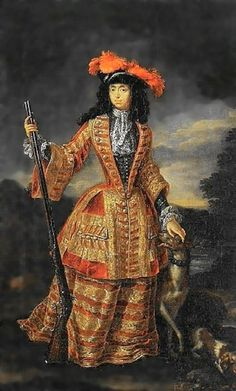 Anna Maria Luisa de' Medici (1667-1743) in hunting dress by Jan Frans van Douven, ca. 1695, Palazzo Pitti, Firenze, Italy. Daughter of  Cosimo III de' Medici and Marguerite Louise d'Orléans.  She married Johann Wilhelm, Elector Palatine in 1691 and was the last scion of the House of Medici.   Her death, in 1743, brought the royal House of Medici to an end.