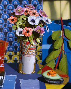 Daniel Gordon - Anemone Flowers and Avocado 2012 Yale School Of Art, 3d Collage, Anemone Flower, Flowers Vase, Art Day, Still Life, Contemporary Art, Illustration Art, Illustrations