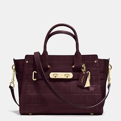 $650 Coach Swagger 27 in Croc Embossed Leather