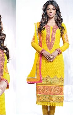 Picture of Splendorous Yellow Color Party Wear Churidar Kameez