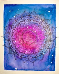 mandala // galaxy // watercolor // space // sacred by AbraKayDabra, $17.00