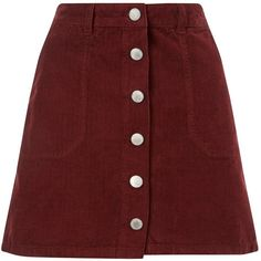 Miss Selfridge Burgundy Cord Mini Skirt ($48) ❤ liked on Polyvore featuring skirts, mini skirts, bottoms, saias, burgundy, cord skirt, miss selfridge, mini skirt, button skirt and short skirts
