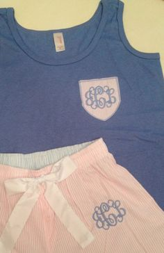 Monogrammed Seersucker Pajama Set on Etsy,