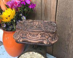 Vintage Carved Box - Wooden Box - Trinket Box - Jewelry Box - Syroco Wood - Made in USA - Storage Box - Vanity Box - Rustic Decor