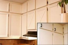 Before and after a kitchen cabinet upgrade:  Good DIY painted plastic laminate cabinets plus added inexpensive molding to the fronts/doors to dress them up a bit more.  Very inexpensive kitchen update!
