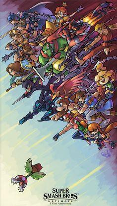 """Happy (belated) Anniversary of Super Smash Bros Ultimate! Super Smash Bros Brawl, Super Smash Bros Characters, Nintendo Super Smash Bros, Super Mario Kunst, Super Mario Art, Metroid Samus, Metroid Prime, Animes Wallpapers, Gaming Wallpapers"