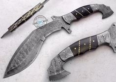 "13.50"" Custom Made Beautiful Damascus Steel Full Tang Kukri Knife  (AA-0384-1) #UltimateWarrior"