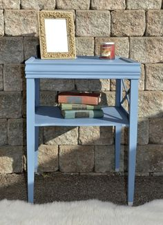 Dusty Blue Chalk Paint by Lilac Shack Furniture Blue Side Table, Blue Chalk Paint, Milk Paint, Vintage Coffee, Dusty Blue, Painted Furniture, Lilac, Projects, Painting