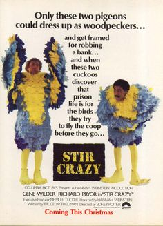 1980 Stir Crazy Movie Ad w/ Gene Wilder Richard Pryor!-This is a 1980 ad for the movie Stir Crazy featuring Gene Wilder and Richard Pryor! The size of the ad is approximately inches. The caption for this ad is Only these two pigeons could dre Good Comedy Movies, Funny Movies, Funniest Movies, 80s Movies, Tom Scott, Don Jon, The Stranger Movie, Richard Pryor, Prison Life