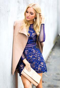 Cobalt Lace Dress - AngelFoodStyleAngelFoodStyle
