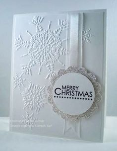 """Stampin Up!: Northern Flurry embossing folder; 2"""" circle punch; 2 3/8"""" scallop…"""
