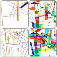 АРТ-ПРОЕКТ СО ШПАТЕЛЯМИ Простой проект для маленьких художников: в хаотичном порядке класть на лист бумаги деревянный шпатель и обводить его. А потом раскрасить сегменты, образованные пересечениями линий.