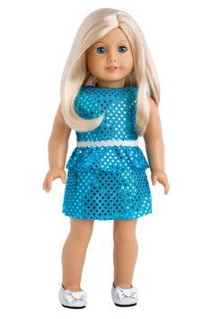 Turquoise - Clothes for 18 inch Doll - Sparkling Holiday Party Dress with…