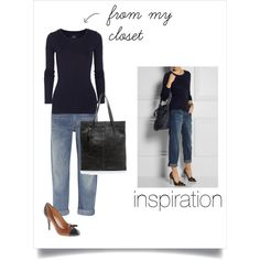 """""""Back to Basics - navy t-shirt"""" by abiggercloset on Polyvore"""