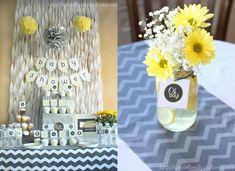 Gray And Yellow Baby Shower Decorating Ideas Via At Tonya At Love Of