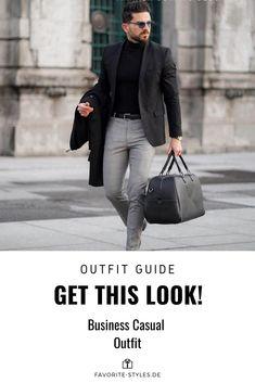 Erfahre welche Teile dazu passen!. Business Casual Outfit für Männer. Smarter Look für den Herbst mit Anzughose, Rollkragenpullover, Sakko, Wollmantel, Lederstiefel und Ledertasche. Ein ideales Outfit für Geschäftsreisen. Outfits für Männer mit passenden Teilen bei Favorite Styles. #favoritestyles #mode #fashion #outfit #männer #herren #style #stil #männermode #herrenmode #mensoutfit #mensfashion #ideen #inspiration #casual #smart #business #sakko #wo