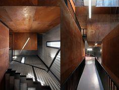 acier corten à utilisation intérieure- revêtement cage escalier et couloir
