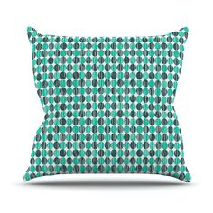 """Michelle Drew """"Distressed Circles"""" Teal Aqua Outdoor Throw Pillow"""