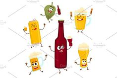 Smiling funny beer bottle, glass, can, mug hop characters, mascots Sketch Icon, Art Sketches, Cartoon Fox Drawing, Hand Illustration, Illustrations, Beer Humor, Surface Pattern, Glass Bottles, Beer Bottle