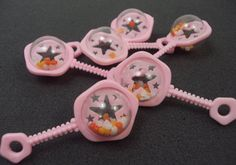 Mini Pink Rattles Globes Baby Shower Decorations Favors Doll Toy Games Cake Decorations