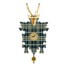 Union Rustic Modern Cuckoo Style Clock in a Plaid Design with a Gold Coloured Deer Adornment. Quartz Time Only Movement. Grey Wall Clocks, Pink Castle, Pendulum Wall Clock, Farmhouse Wall Clocks, Plaid Design, Digital Wall, Iron Wall, Black Forest, Flower Wall