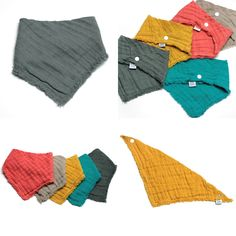 Snoods, tours de cou, foulard et bavoirs bandanas en lange de coton OekoTex Made in France Zéro déchet (le patronage de ces modèles ne laisse pas de chutes de tissus)
