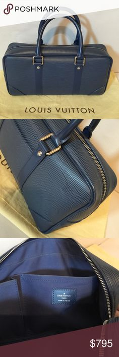 """Louis Vuitton handbag Epi leather Vivienne Handbag Blue Satchel, Exterior:Preowned in very good condition/interior:Preowned in good condition-blue color fabric faded(see photos), material:Epi Leather,  Dimensions:12.6""""x6.4""""x 2.6"""", Handle drop:4"""", Description:Silver-tone, comes with dust bag, paid $2,300 at LV Store in Rodeo Dr.Beverly Hills.,CA, date code:BA0065, used slightly and kept in closet(found out its lining's fabric got faded) Louis Vuitton Bags Satchels"""