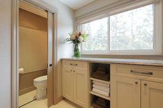 #bathroom #hardwood #white #tile #slidingdoor #interiordesign #hillcrestdesign http://www.hillcrestdesign.ca