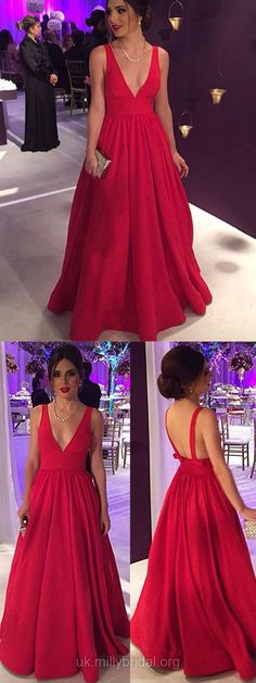 Long Prom Dresses,Elegant Red Prom Dresses,Ball Gown Prom Dresses For Teens, 2018 Prom Dresses V-neck,Sexy Prom Dresses Satin #ballgowns