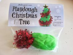 Learn with Play at Home: DIY Chistmas Tree Playdough Gift Bags with free printable labels