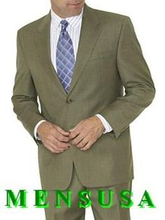Wedding Suit Striking and eye catching 2 button mens dress business suit available in olive green color. - Classic and sophisticated Two Button Style men's dress suit Men's suit features jacket Dress Suits For Men, Mens Suits, Men Dress, Trendy Mens Fashion, Stylish Men, Classic Fashion, Discount Suits, Business Dresses, Business Suits
